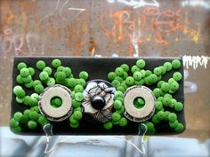 $88  Upcycled Vintage Clutch 1970s Black Painted Linen with Green Circles by (undercover) POPULAR