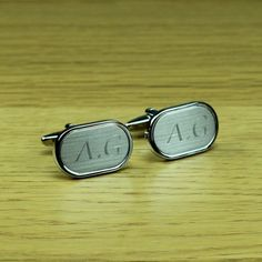 Personalised Silver Brushed Cufflinks with Engraved Case  from Personalised Gifts Shop - ONLY £20.95