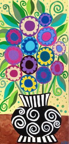 Kerri Ambrosino Art folklorique mexicain signees Fleurs Roses lavande jaune marguerites Vase