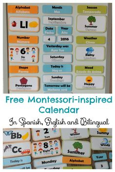 DIY Montessori-inspired Calendar for toddlers and preschoolers. Free calendar printable in Spanish, English and bilingual with weather station, mood chart, counting cards, seasons and shapes . Perfect for introducing spanish as foreign language to a young child.