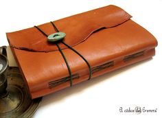 Handmade Journal Orange Leather Sketchbook Large A5 Size by codice, $45.00
