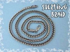 "1970s Sterling Silver 20"" Braided Chain Oxidized Sterling Necklace"