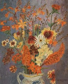 Still Life with Flowers and a Butterfly in a Glazed Earthenware Jug by Sir Cedric Morris, 1927