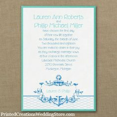 Perfect for a nautical wedding theme is this It's A Shore Thing Layered Invitation with its anchor design.  See this and many more wedding invitations here - www.printedcreationsweddingstore.com     #nauticalweddinginvitations