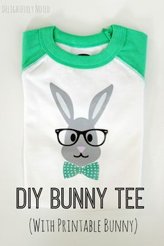 DIY Hipster Bunny Tee with Free Printable Bunny Iron On Template. Easy, quick, and cute for Easter!!