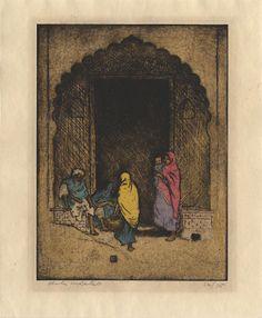 Portão de entrada para Agra. Gravura a água forte, colorido à mão, ponta seca com aquarela. 1923. Charles W. Bartlett (1860-1940).  Fotografia: Castelo de Belas Artes.