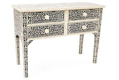 One Kings Lane - A Girl's Haven - Kenner Console, Black/Ivory