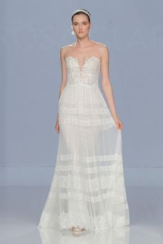 Strapless Lace Wedding Dress with Swiss Dot Embroidery  84ba51d4f6