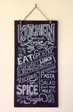 Hand Painted Kitchen Typography Chalkboard Art - 10 x 20 - Ready to Hang with Twine - Wedding Housewarming Gift. $85.00, via Etsy.