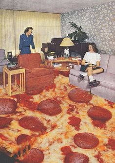 pizza carpet...feel sick just looking at it!!