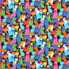 black coloured cat fabric by Timeless Treasures