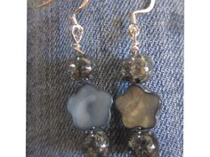 Dangling Crackled Glass and Dyed Mother-of-Pearl Flower Earrings   KattyCandlesandJewelry - Jewelry on ArtFire