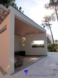 Pool house contemporain avec cuisine d 39 t douche local for Local technique piscine toit plat