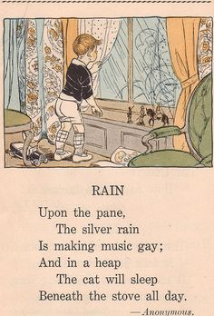 """Kids and Rain! From """"Storyland"""" by Hazel Gertrude Kinscella, 1926 and Illustrated by Ruth Mary Hallock Nursery Rhymes Poems, Nursery Songs, Rain Poems, Rhymes For Kids, Children Rhymes, Pomes, Kids Poems, Singing In The Rain, Vintage Children's Books"""