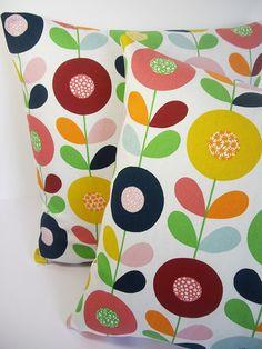 Retro Scandinavian Swedish Vintage 50s 60s Fabric Cushion Cover - Flower Circles | eBay