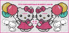 ENCANTOS EM PONTO CRUZ: Hello Kitty Kawaii Cross Stitch, Cross Stitch For Kids, Cross Stitch Baby, Cross Stitch Charts, Cross Stitch Patterns, Hello Kitty, Nerd Crafts, Perler Patterns, Pretty Cats