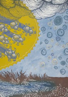 Hail from the West; Unique color linocut on hand-stained paper with hand coloring by Judy Youngblood; 27 ¾ x 19 ½ inches,  2012