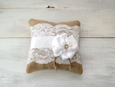 Wedding Burlap and Lace Ring Bearer Pillow by TwentyEight12, $28.00