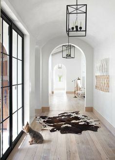 light hardwood floors, black windows, white walls