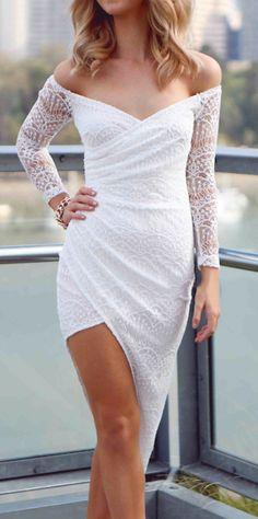 Off shoulder asymmetrical dress