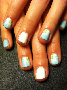 Spring nails, white, aqua, seafoam green, flowers