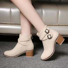 Stylish Block Heel Ankle Boots //Price: $45.60 & FREE Shipping //     #fashion