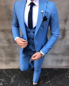 Mens Fashion Suits, Blazer Fashion, Mens Suits, Mens Attire, Blue Slim Fit Suit, Blue Suit Men, Blue Blazer Men, Blue Blazers, Black Suits