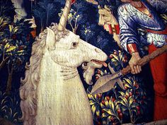 A detail from one of the famous medieval unicorn tapestries ca. 1500, currently hanging at The Cloisters, in Fort Tryon Park, New York City.