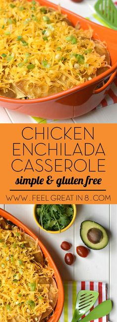 This Chicken Enchilada Casserole recipe is simple to make, gluten-free and super delicious! It's sure to be a healthy family favorite!|