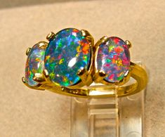 Large Opal engagement ring.Genuine Natural by AmyKJewels on Etsy