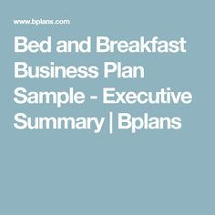 Bed And Breakfast Business Plan Template Free