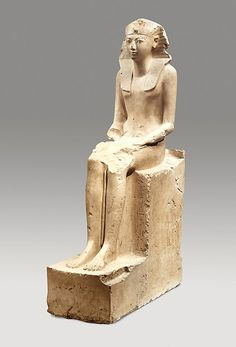 Seated Statue of Hatshepsut | Period:New Kingdom Dynasty:Dynasty 18 Reign:Joint reign of Hatshepsut and Thutmose III Date:ca. 1479–1458 B.C. Geography:From Egypt, Upper Egypt, Thebes, Deir el-Bahri & el- Asasif, Senenmut Quarry, MMA excavations, 1926–28/Lepsius 1843–45 Medium:Indurated limestone, paint