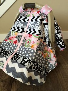 Car Seat Canopy STUNNING OOAK patchwork RTS by SooShabbyChic, $46.99