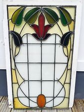 REBUILT STAINED GLASS FRONT DOOR PANEL WINDOW LEADED 1930s PERIOD OLD ANTIQUE