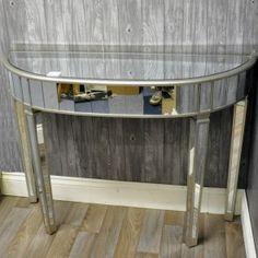 114cm X 82cm Venetian Gl Half Moon Table Console Tables