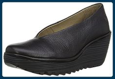 7dc73598f772b FLY London Women's Yaz Wedge Pump, Black Mousse, 39 M US: Leather pump with  comfort rubber wedge