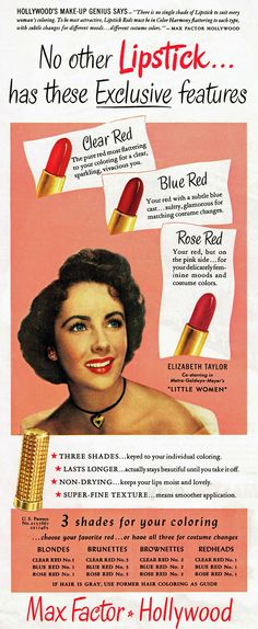elizabeth taylor for max factor lipstick, 1949