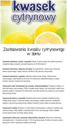 kwasek cytrynowy na Stylowi.pl Homemade Detergent, Simple Life Hacks, Slow Food, Health Eating, Haha, Home Hacks, Good Advice, Better Life, Good To Know
