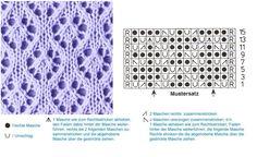 Lochmuster ~ lace knitting pattern ~ Maschenzahl teilbar durch 18 + 5 + 2 Randmaschen. Rechts außen die Zahlen geben die Hin-Reihen an. Mustereinteilung: 1 Randmasche, 1x die Maschen vor dem rechten Pfeil, dann von Pfeil bis Pfeil fortlaufend den Mustersatz wiederholen, mit den Maschen nach dem linken Pfeil endet die Reihe. Alle Maschen und Umschläge in den Rück-Reihen links stricken. Die Reihen 1 – 16 stets wiederholen.