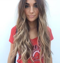 Long Wavy Dark-Blonde Hair with Pale-Blonde Balayage