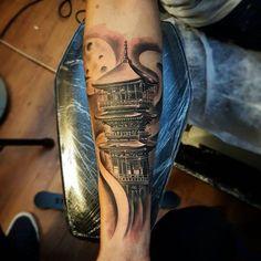 #japanese #tower #pagoda #mystic #area #shading #moon #tattoo #sleeve #inprogress #art #black #gray #work #beratbumin #baykuşevi #