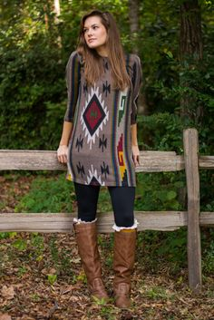 It's that time! You are ready to sport fall colors and let me tell you, this little taupe dress features them flawlessly! The native style print is right on trend and the a-line fit oh-so chic!