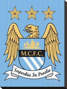 Manchester City-Crest Stretched Canvas Print - AllPosters.co.uk
