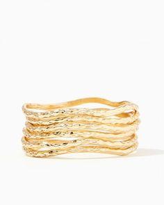 Wavy Hammered Bracelet Set | Charming Charlie