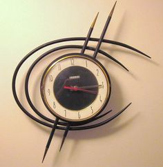 If a clock could suggest the essence of a martini without actually looking like one, this vintage Bayard clock from readers Rob & Monica sure gets as close as they come. Its asymmetrical design and concentric rings make it easy to love — shaken or stirred. Read more: 27 awesome midcentury vintage wall clocks - Retro Renovation