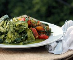 Zucchini ribbons in fresh herb pesto create a counterpoint to complex, richly flavored eggplant and tomato.  http://stalkerville.net/ #paleo #glutenfree #realfood