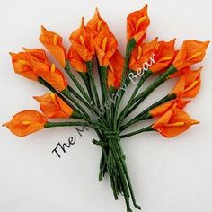 """10 3/8"""" Orange CALLA LILIES MULBERRY PAPER FLOWERS, Easter, Spring, crafts"""