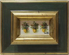 Isabel Yllescas : Pots. Medium: Oil on wood Measurements (cm): 32x25 Canvas measurements (cm): 15x08 Interior frame: No.  Pretty still life of flowers. A very decorative painting at a very reasonable price. $54.49