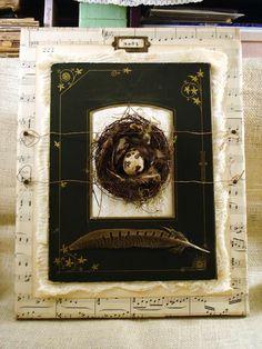 Bird's nest assemblage on canvas