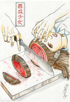 "akatako:  ""Funny Girl #82"" paintingby Shintaro Kago"